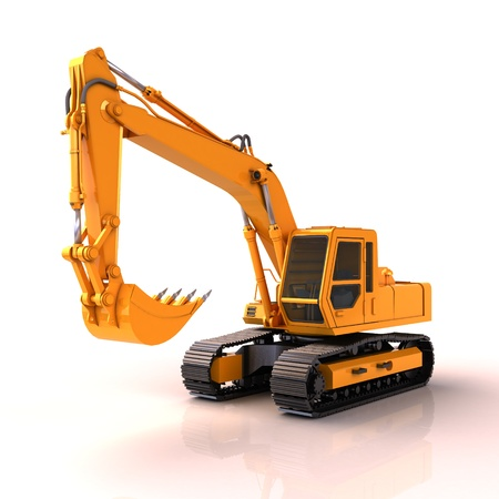 cutcat: Excavator on a white background, with reflection and shadow Stock Photo