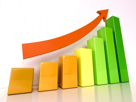 upward graph: Increased growth Stock Photo