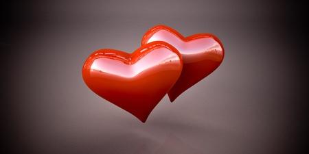 Shiny red hearts Stock Photo - 16401824
