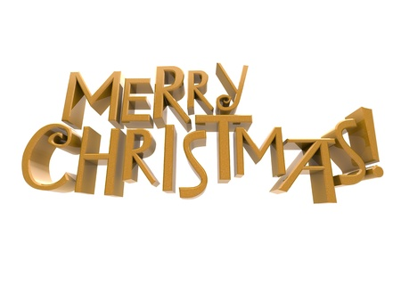 cutcat: Merry Christmas in  yellow sparkling rendered letters isolated on a white background