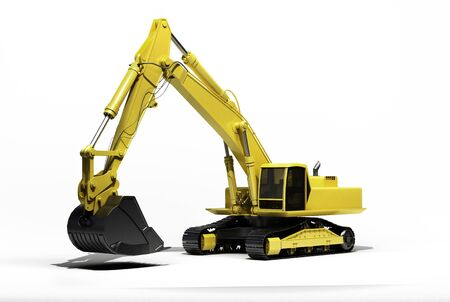 Excavator on a white background, with reflection and shadow Stock Photo - 17217194