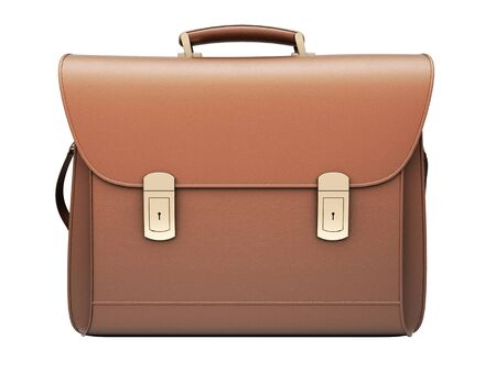 Brown business briefcase isolated photo