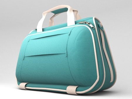 Turquoise sports bag on a light background with shadow photo