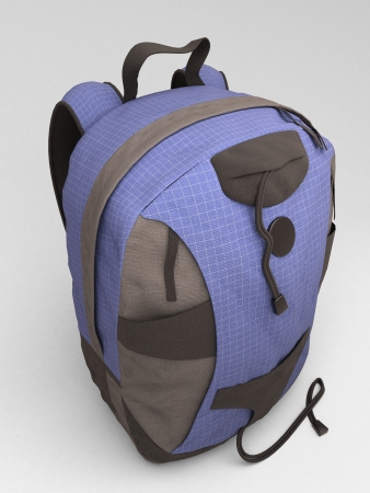 packsack: Blue travel backpack close up on a light background Stock Photo