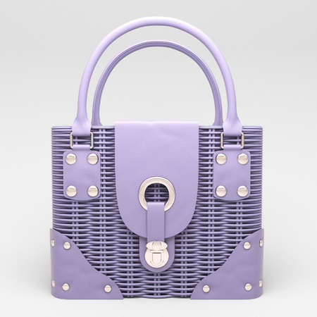 Women's lilac wicker handbag closeup on light background Stock Photo - 17476169