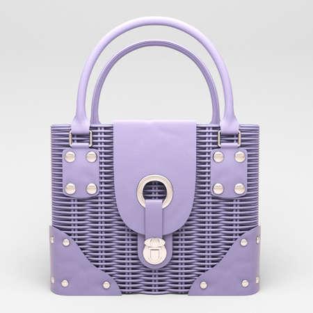Women's lilac wicker handbag closeup on light background Stock Photo - 17476169