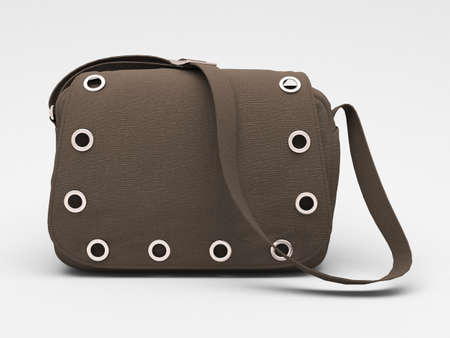 Women's grey handbag with studs on light background Stock Photo - 17476163