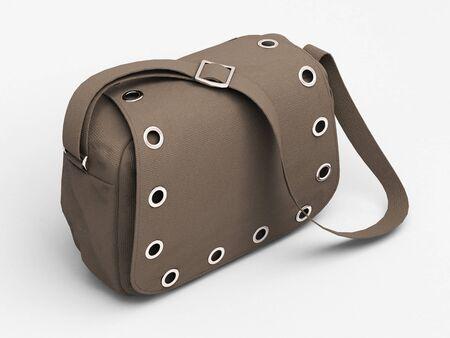Women's grey handbag with studs on light background Stock Photo - 17476168