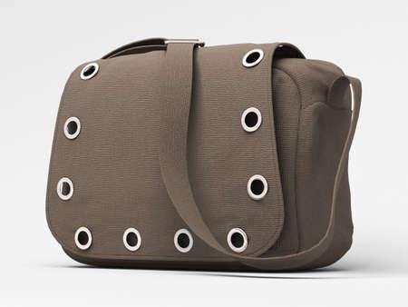 Women's grey handbag with studs on light background Stock Photo - 17476177