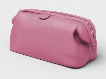 Pink leather clutch closeup on a light background Stock Photo - 17476142