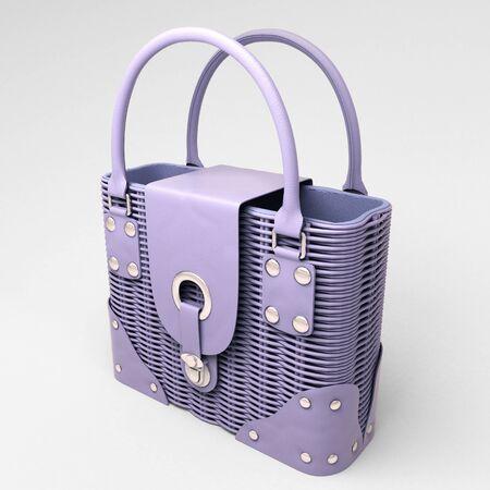 Women's lilac wicker handbag closeup on light background Stock Photo - 18783708
