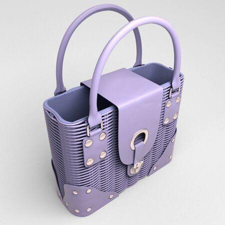Women's lilac wicker handbag closeup on light background Stock Photo - 18783713