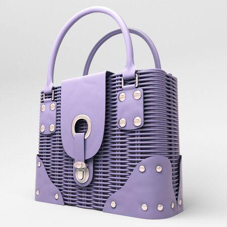 Women's lilac wicker handbag closeup on light background Stock Photo - 18783704