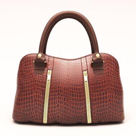 Crocodile leather women's handbag isolated on white background Stock Photo - 18865992