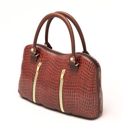 Crocodile leather women's handbag isolated on white background Stock Photo - 18865991