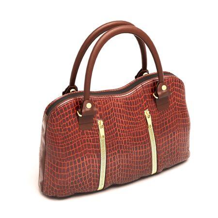 Crocodile leather women's handbag isolated on white background Stock Photo - 18866032