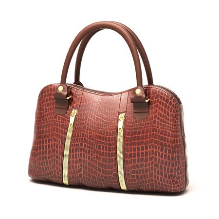 Crocodile leather women's handbag isolated on white background Stock Photo - 18866034