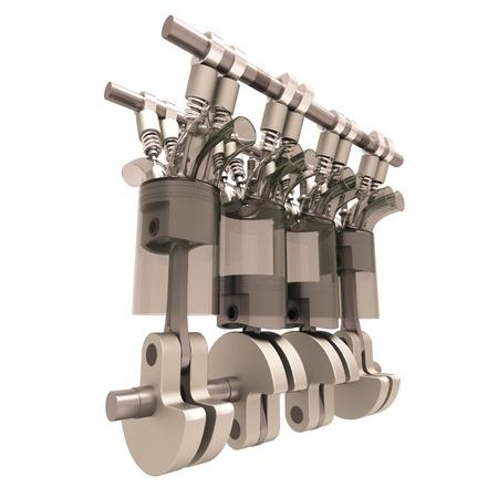 motor de carro: El motor de combustión interna close-up aislados en fondo blanco