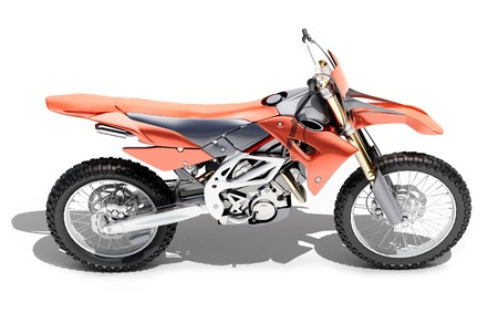 motorsprot: Sport bike enduro or trial close up on a light background with shadow