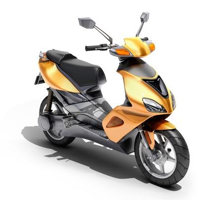 motor de carro: Moto naranja de moda close up sobre un fondo claro Foto de archivo