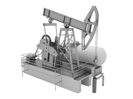 brent crude: Pumpjack is the overground drive for a reciprocating piston pump in an oil well Stock Photo