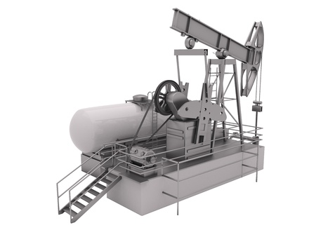 energetics: Pumpjack is the overground drive for a reciprocating piston pump in an oil well Stock Photo