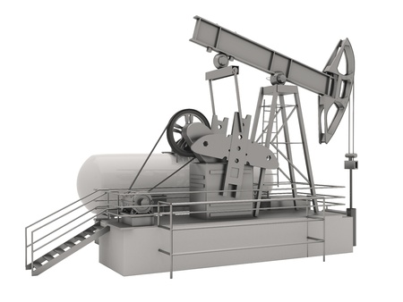 bbl: Pumpjack is the overground drive for a reciprocating piston pump in an oil well Stock Photo