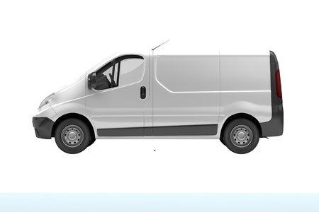 ensuring: White commercial van  isolated on white background