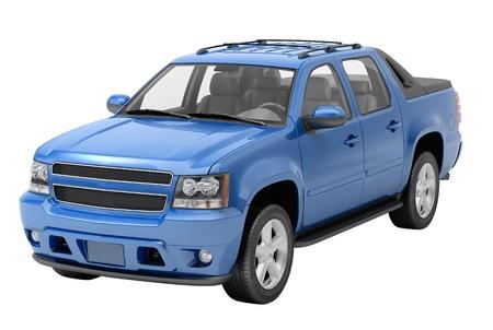 motor de carro: Pickup azul sobre un fondo claro con sombras