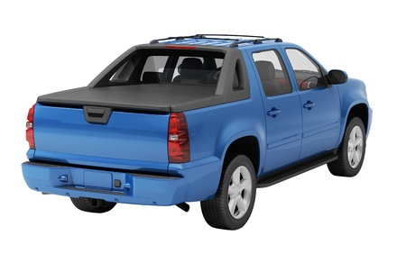ensuring: Blue pickup on a light  background with shadow