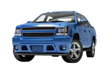 Blue pickup on a light  background with shadow