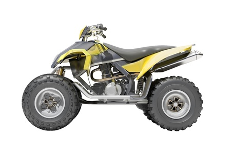 Giallo All Terrain Vehicle isolato su sfondo bianco photo