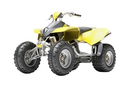 Yellow All Terrain Vehicle isolated on white background photo