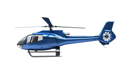 Modern blue helicopter on a white background Stock Photo - 20537062