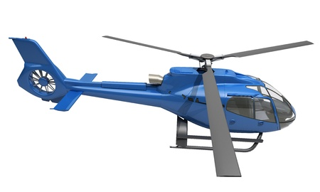 quickness: Modern blue helicopter on a white background
