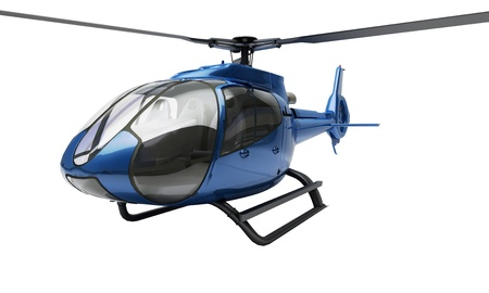 Modern blue helicopter on a white background Stock Photo - 20537121
