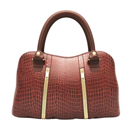 Crocodile leather women's handbag isolated on white background Stock Photo - 20537257
