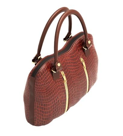 Crocodile leather women's handbag isolated on white background Stock Photo - 20537179