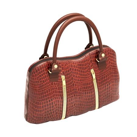 Crocodile leather women's handbag isolated on white background Stock Photo - 20537251