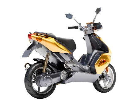 afflatus: Trendy orange scooter close up on a light background