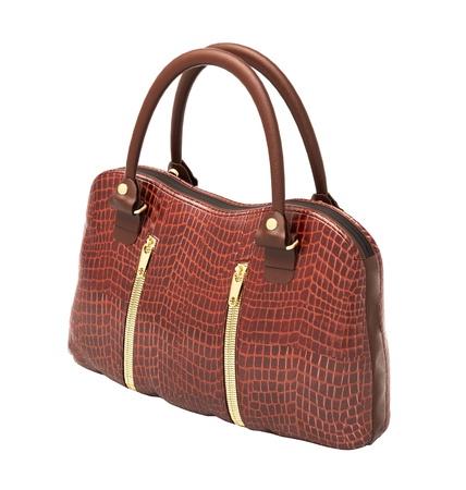 Crocodile leather women's handbag isolated on white background Stock Photo - 20537240