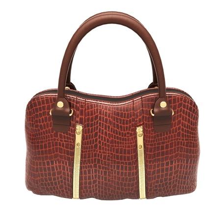 Crocodile leather women's handbag isolated on white background Stock Photo - 20537255