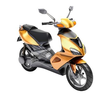 Trendy orange scooter close up on a light background