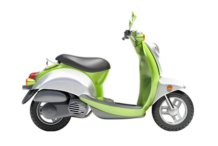 afflatus: Trendy green scooter close up on a light background