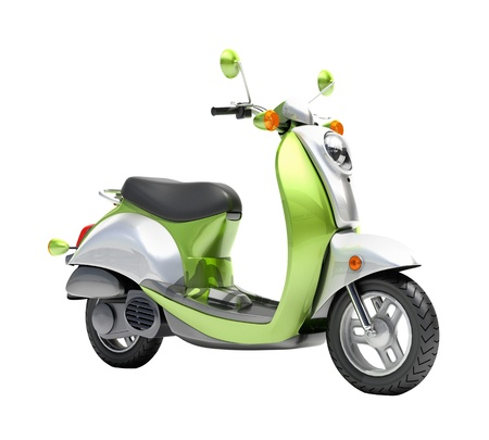 Trendy green scooter close up on a light background