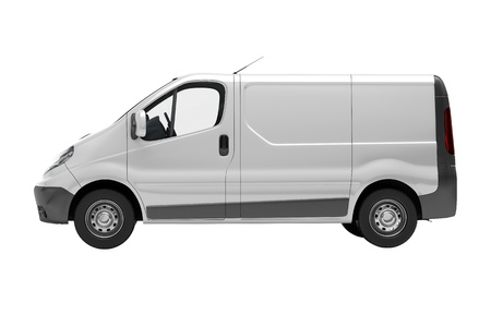 accompaniment: White commercial van  isolated on white background