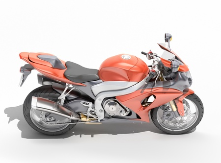Powerful sports motorcycle isolated on a white studio background Stock Photo