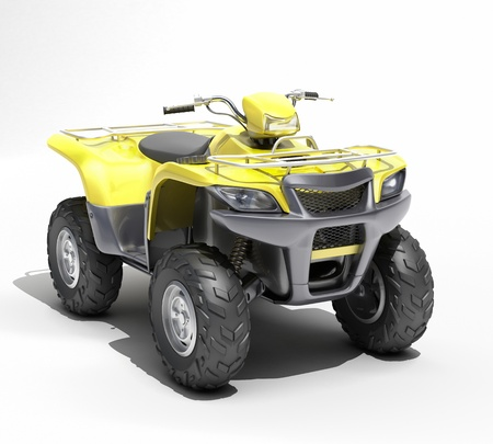 Quad All Terrain Vehicle isolated on white background photo