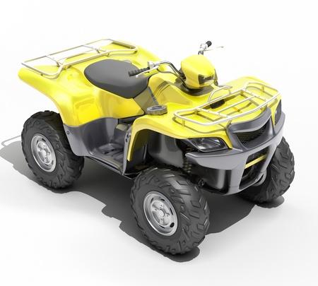 maneuverability: Quad All Terrain Vehicle isolated on white background