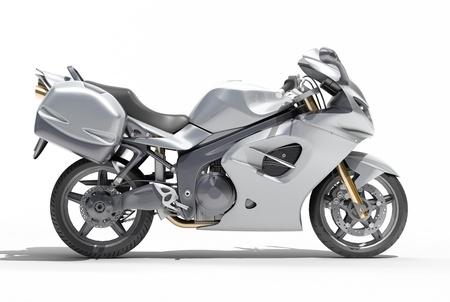 maneuverability: Powerful sports motorcycle isolated on a white studio background Stock Photo